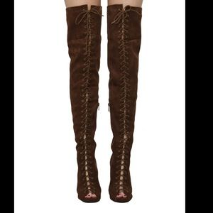Akira Epiphany Lace Up Thigh High Boots 7.5 NWT